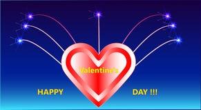 La photo avec des feux d'artifice, un coeur et un jour heureux du ` s de Valentine d'inscription décorative ! ! ! Photographie stock libre de droits
