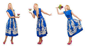 La photo composée de la femme avec des tulipes sur le blanc Photo stock