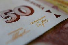 La photo dépeint le billet de banque bulgare de devise, 50 levs, BGN, clo Images stock