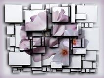 La photo 3D cube l'effet Apple vert rendu 3d Fleur Photographie stock