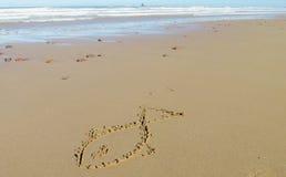 La photo d'un poisson sur la mer de sable échouent Photo stock