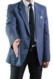 La photo de l'homme d'affaires dans un costume avec une feuille dans une poche Photographie stock