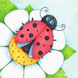 La photo dessinée par mains de la coccinelle sur la fleur par la couleur crayonne illustration de vecteur