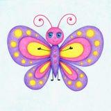 La photo dessinée par mains du papillon par la couleur crayonne illustration libre de droits