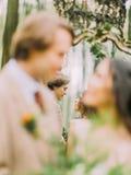 La photo en gros plan des nouveaux mariés brouillés et de leur réflexion dans le miroir Photo libre de droits