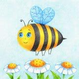 La photo tirée par la main de l'abeille et les fleurs par la couleur crayonnent illustration stock