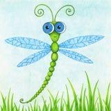La photo tirée par la main de la libellule mignonne de vol par la couleur crayonne illustration libre de droits