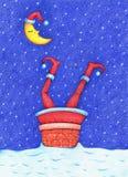 La photo tirée par la main de Santa Claus a collé dans la cheminée pendant la nuit neigeuse illustration de vecteur