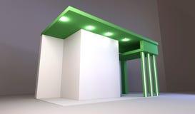 La photo vide sur le vert a plâtré le mur Intérieur de rampe avec la trame vide sur le mur Images stock
