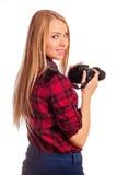 La photographe de femme tournent autour tout en tirant - d'isolement sur le petit morceau Photo stock