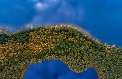 La photographie aérienne des lacs, dessus regardent vers le bas photo libre de droits
