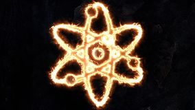La physique de l'atome Signe de l'atome Le signe de l'atome rougeoie 18 illustration stock