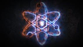 La physique de l'atome Signe de l'atome Le signe de l'atome rougeoie 20 illustration de vecteur