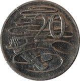 La pièce de monnaie australienne de vingt-cent comporte l'ornithorynque sur l'inverse conçu par Stuart Devlin photo libre de droits