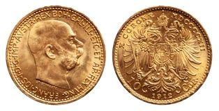 La pièce d'or de l'Autriche 10 kronen le cru 1912 image stock