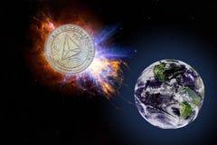 La pièce d'or de TRX tombe à la terre de l'espace Éléments de cette image meublés par la NASA photographie stock