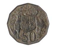 La pièce de monnaie australienne de cinquante-cent comporte le manteau des bras australien sur l'inverse conçu par Stuart Devlin photographie stock libre de droits