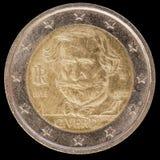 La pièce de monnaie commémorative de l'euro deux a publié par l'Italie en 2013 et le commemor Images stock