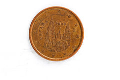 La pièce de monnaie de l'euro cent 5 avec le postérieur de l'Espagne a employé le regard images stock