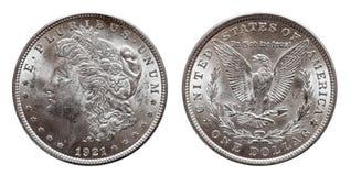 La pi?ce de monnaie des USA Morgan Silver Dollar a monnay? 1921, d'isolement sur le blanc photographie stock libre de droits