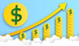 La pièce de monnaie du dollar arrangent dans la hausse de forme de graphique du ciel avec le nuage, vecteur, illustration, art de photo libre de droits