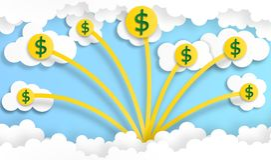 La pièce de monnaie du dollar arrangent dans la hausse de forme de graphique du ciel avec le nuage, vecteur, illustration, art de images libres de droits