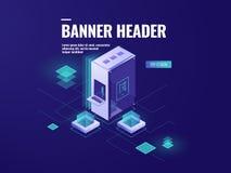 La pièce de serveur, l'icône d'accueil de Web, le datacenter et la base de données isométriques dirigent l'illustration, ordinate illustration stock