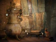 La pièce du magicien avec un chat illustration de vecteur
