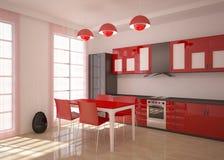 La pièce moderne de cuisine rendent Photos stock