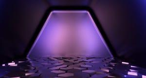 La pièce réaliste de la science fiction avec l'hexagone couvre de tuiles le rendu du plan rapproché 3D Illustration Libre de Droits