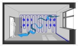 La pièce s'est refroidie avec la flèche de refroidissement de mur et de ventilation naturelle illustration stock
