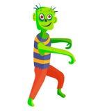 La pièce verte mignonne de jeu de caractères de zombi de bande dessinée de monstres de corps dirigent l'illustration Images stock
