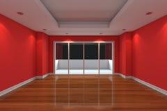 La pièce vide décorent le mur rouge Photographie stock libre de droits