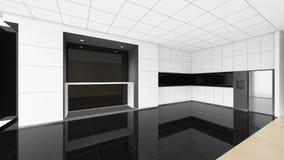 La pièce vide moderne, 3d rendent la conception intérieure, moquerie vers le haut d'illustrati Photos libres de droits