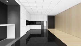 La pièce vide moderne, 3d rendent la conception intérieure, moquerie vers le haut d'illustrati Image stock