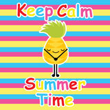 La piña linda guarda calma en historieta del fondo, la postal del verano, el papel pintado, y la tarjeta de felicitación rayados, ilustración del vector