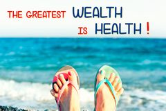 La più grande ricchezza è salute Citazione ispiratrice motivazionale Immagini Stock
