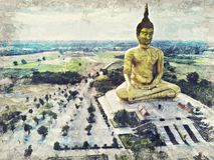 La più grande statua dorata di Buddha al tempio di Muang, Aungthong tailandese illustrazione di stock