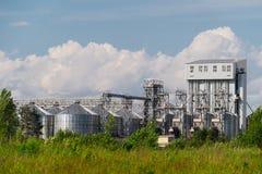 La pianta dei prodotti chimici di famiglia con i serbatoi metallici ed i tubi circondati dalla foresta Fotografia Stock