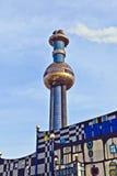 La pianta del riscaldamento centrale di un quartiere a Vienna ha progettato da Friedensreich Hundertwasser Fotografie Stock