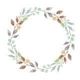 La pianta del terreno boscoso dell'acquerello copre di foglie corona Garland Spring Summer Immagine Stock