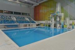 La piattaforma di immersione subacquea del cubo dell'acqua a Pechino, Cina Fotografia Stock