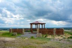 La piattaforma di osservazione sull'alta Banca del fiume Kiya Fotografia Stock