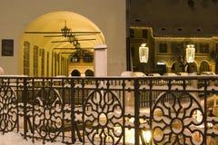 La piazza della neve di inverno alloggia il nuovo anno di natale Fotografia Stock Libera da Diritti