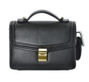 La piccola borsa di cuoio nera dell'uomo su fondo bianco Fotografia Stock Libera da Diritti