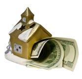 La piccola casa con i dollari Immagine Stock