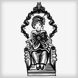 La piccola donna con un arco enorme illustrazione vettoriale
