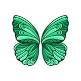 La piccola farfalla verde traversa con il bello modello ed il contorno nero Elemento piano di vettore per la cartolina o il manif illustrazione vettoriale
