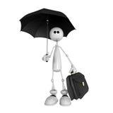 La piccola persona con un ombrello e una cartella Immagini Stock Libere da Diritti