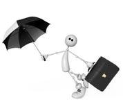 La piccola persona con un ombrello e una cartella Immagini Stock
